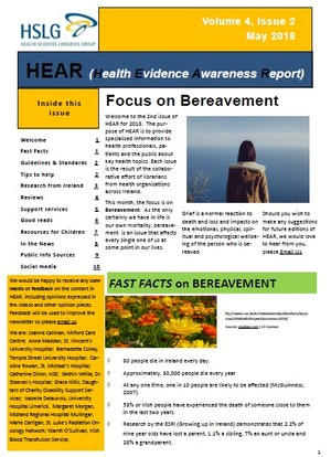 Image for article titled 'HEAR Newsletter - May 2018: Focus on Bereavement'